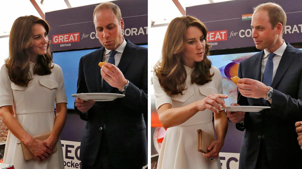 VILLE IKKE SMAKE: Kate sa høflig nei til å smake på ektemannens hjemmelagde godbit i India.  Foto: NTB scanpix