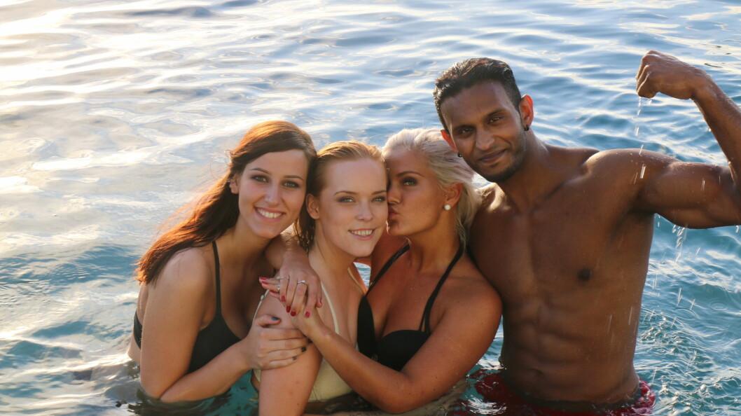 POPULÆR: Mayoo har blitt en populær deltager i årets «Paradise Hotel». Her med kollegene Nina Martnes, Mikela Beckovic og Henriette Otervik.