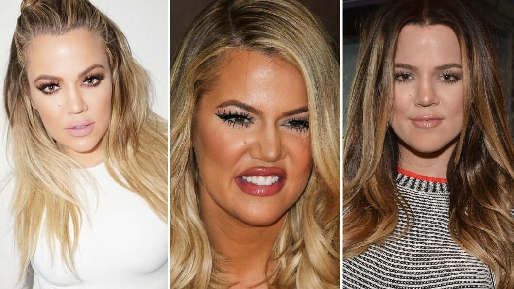 FØR OG NÅ: Bildet til venstre er nylig tatt av Khloe Kardashian. Bildet i midten er fra da hun fikset på utseendet i fjor høst, og det siste bildet er fra slik hun så ut for seks år siden. Foto: NTB Scanpix