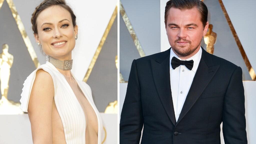 FOR GAMMEL: Olivia Wilde (t.v) mistet rollen som kona til Leonardo DiCaprio i «Wolf of Wall Street» til den syv år yngre skuespilleren Marot Robbie. Her er de to avbildet på Oscar-utdelingen i slutten av februar. Foto: NTB Scanpix