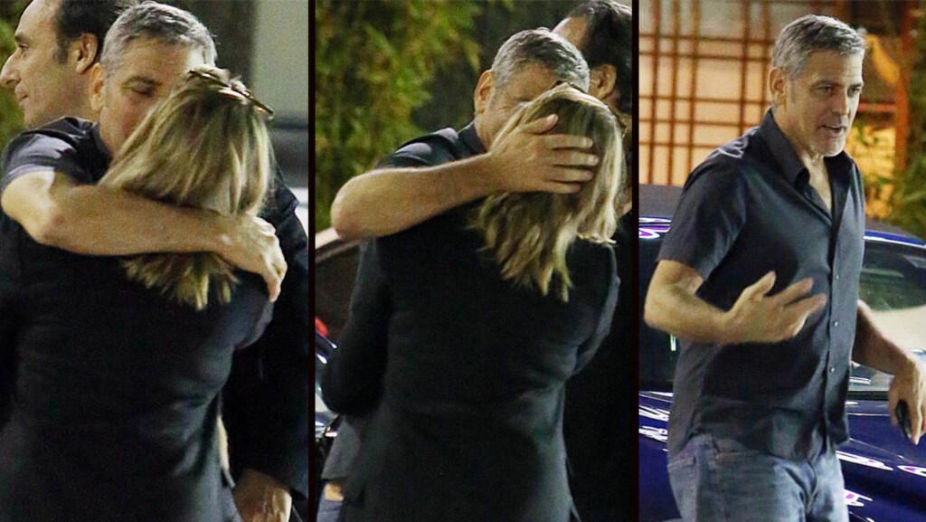 HEMMELIG KYSS: George Clooney var neppe klar over at han ble tatt bilde av da han kysset denne kvinnen utenfor en restaurant i Los Angeles tidligere denne uken.  Foto: NTB Scanpix