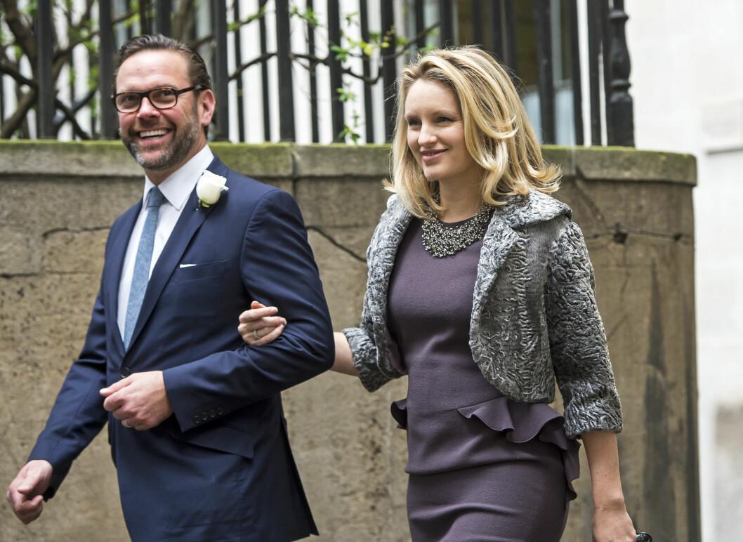 <strong>TOK MED KONA SI:</strong> Ruperts sønn James hadde med seg kona Kathryn.   Foto: SipaUSA