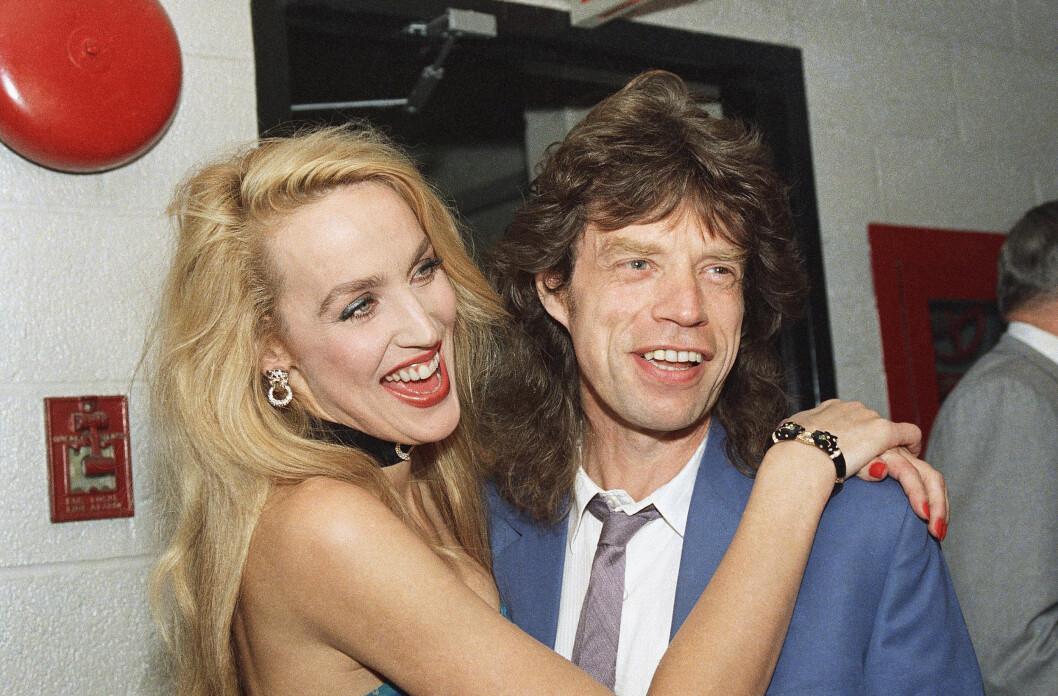 <strong>TIDLIGERE SUPERPAR:</strong> Jerry Hall og rockestjernen Mick Jagger ble sammen i 1977 og gikk fra hverandre i 1999. Foto: Ap