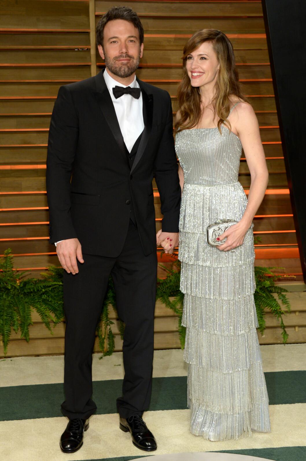 <strong>I 2014:</strong> Ben Affleck og Jennifer Garner så lykkelige ut på Vanity Fairs Oscar-fest i starten av mars i fjor. Foto: Ap