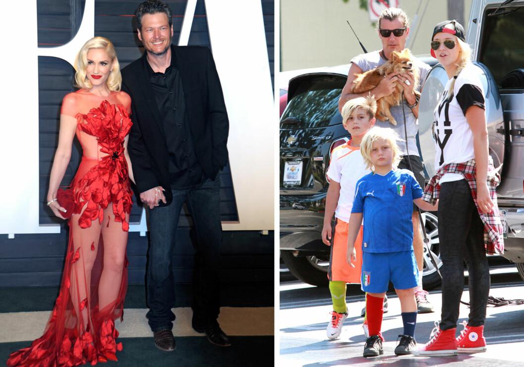 <strong>BLE BRUDD:</strong> Gwen Stefani har funnet lykken med countryartist Blake Shelton (t.v) etter skilsmissen fra Gavin Rossdale. På bildet til høyre er Rossdale avbildet med eldstesønnene Zuma og Kingston, og den mye omtalte barnepiken Mindy Mann høsten 2015.  Foto: DPA/ Broadimage/ NTB Scanpix
