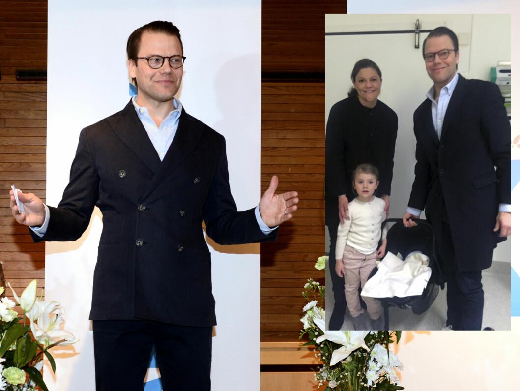 STOLT PAPPA: Prins Daniel var tydelig stolt da han møtte pressen etter at fødselen til kronprinsesse Victoria var vel overstått.  Foto: Scanpix/ Det svenske hoff