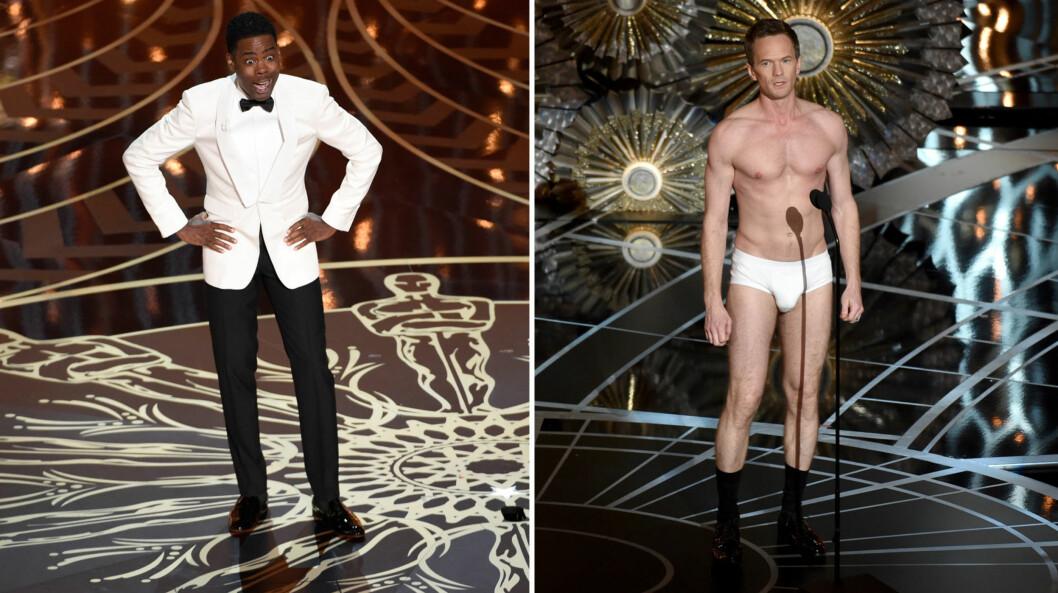FYRTE LØS: Chris Rock trakk også frem fjorårets Oscar-vert, «How I Met Your Mother»-stjernen Neil Patrick Harris, i åpningsmonologen sin.  Foto: NTB Scanpix