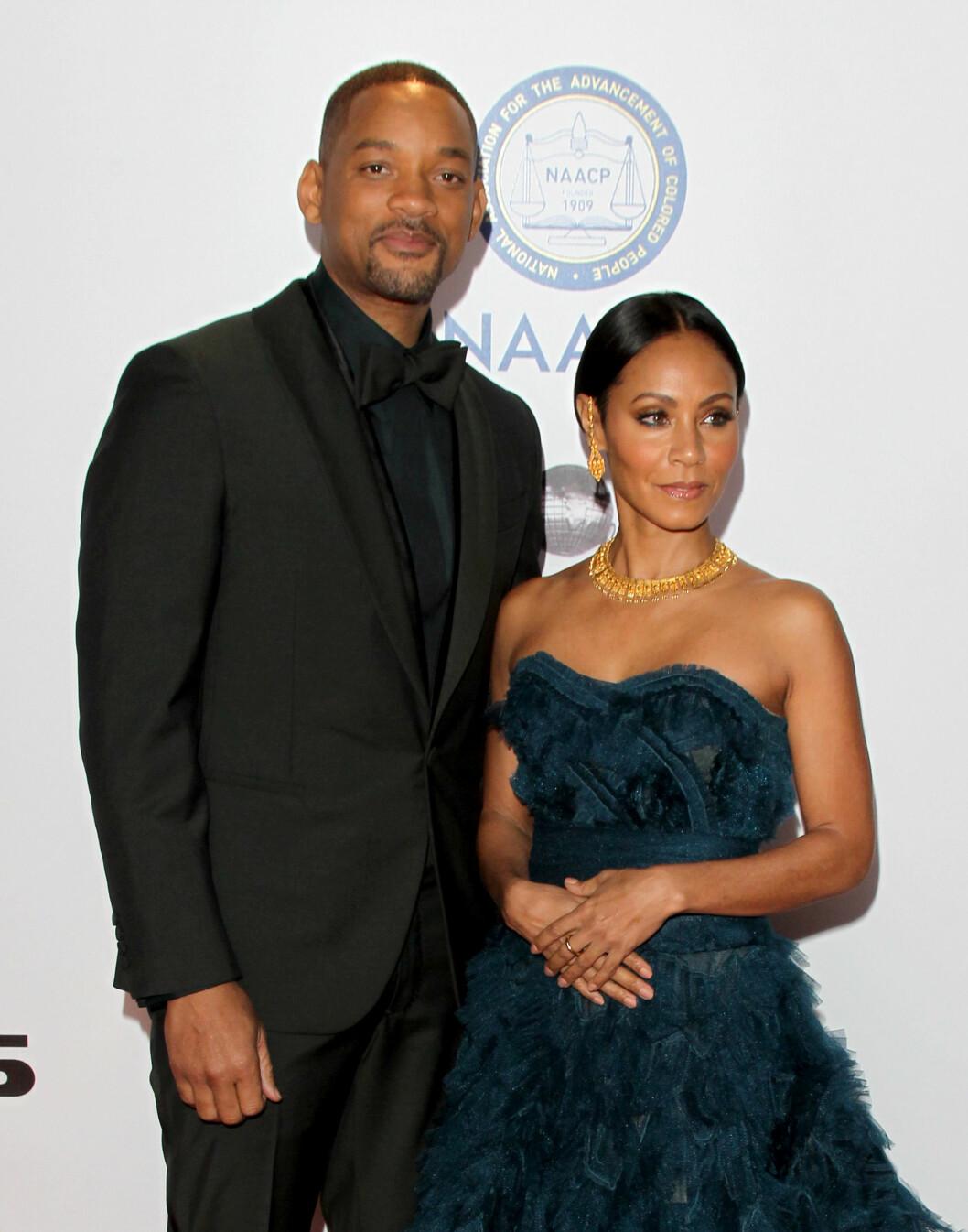 BOIKOTTER: Will Smith og Jada Pinkett Smith dukket ikke opp på den røde løperen i forkant av den 88. Oscar-utdelingen. Her er paret på NAACP Image Awards i starten av februar. Foto: Pa Photos