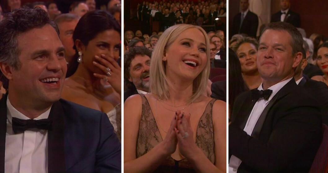 LIKTE VITSENE: Filmstjerner som (f.v) Mark Ruffalo, Priyanka Chopra (bak), Jennifer Lawrence og Matt Damon satte åpenbart stor pris på Chris Rocks harselering med Hollywood og Oscar-akademiet.  Foto: NTB Scanpix