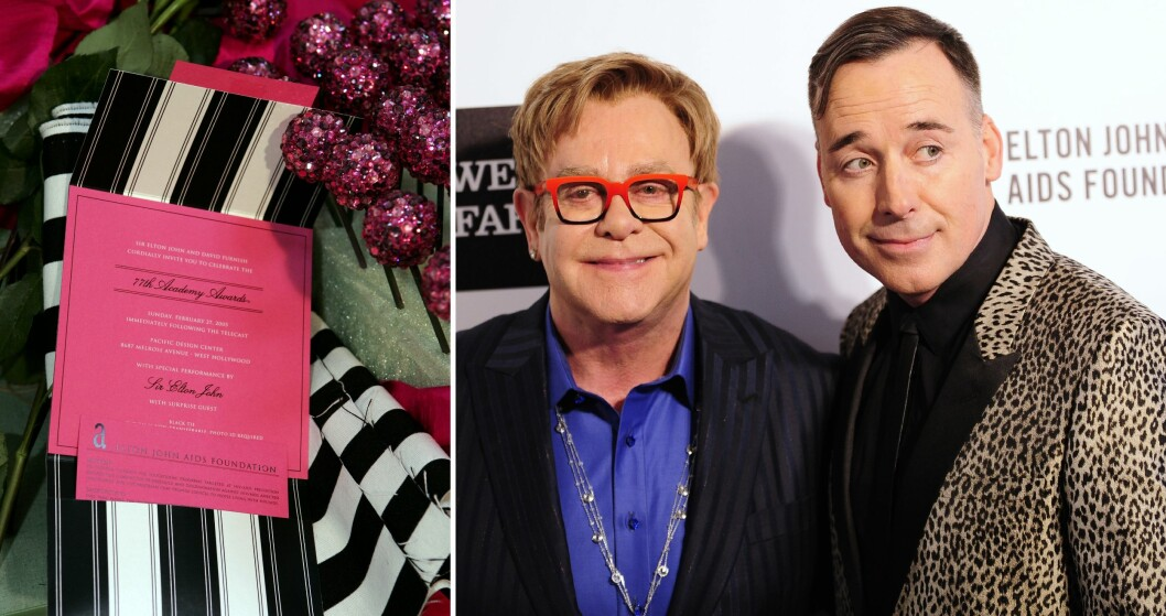 INVITERER TIL PARTY: Elton Johns Oscar-fest begynner like før showet starter i Dolby Theatre, og varer hele natten for dem som orker det. Ett år ble invitasjonene sendt ut sammen med Swarovski-krystaller.  Foto: NTB Scanpix