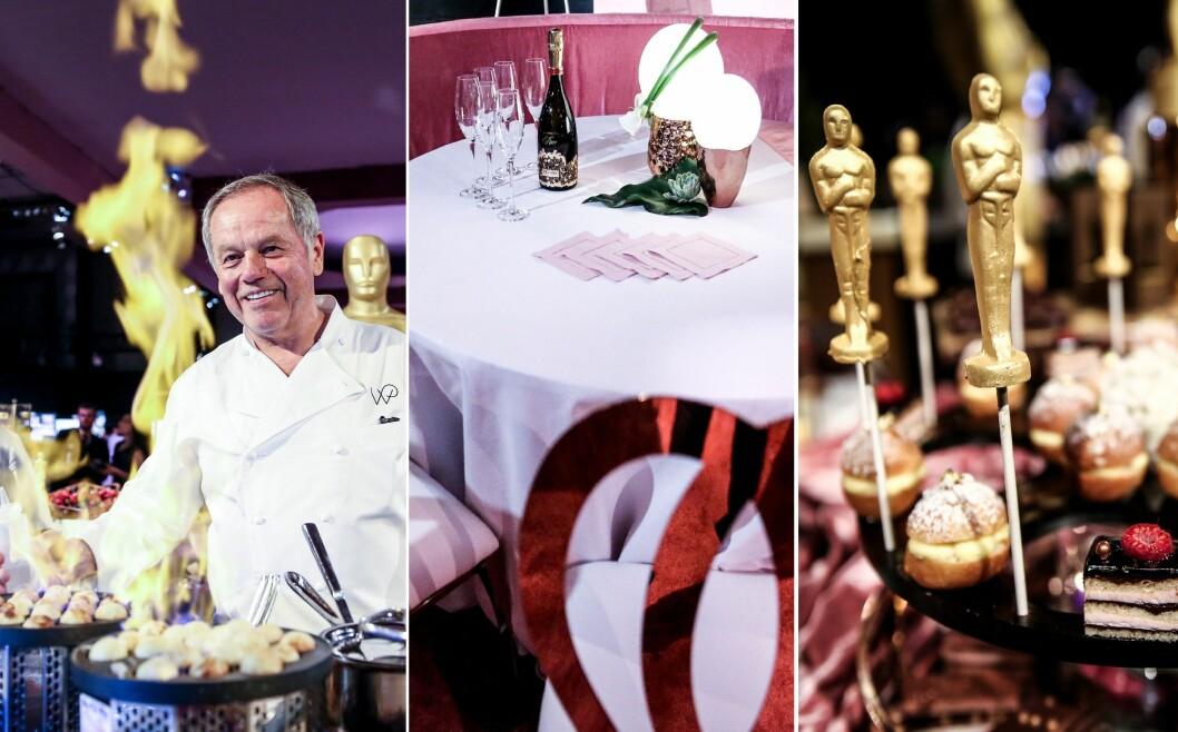 FINT SKAL DET VÆRE: Wolfgang Puck (t.v) sparer ikke på noe når han steller i stand sine delikatesser til Governors Ball. Det flyter selvsagt også av svindyr champagne på alle bordene. Foto: NTB Scanpix