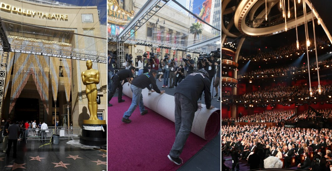 SNART KLART: Bildet til venstre viser inngangen til Dolby Theatre hvor alle kjendisene passerer før de kommer inn i den vakre salen (t.h) hvor showet holdes. Nå er ansatte i full gang med å dekke store deler av Hollywood boulevard med røde løpere for å få alt ferdig til Oscar-kvelden.  Foto: NTB Scanpix