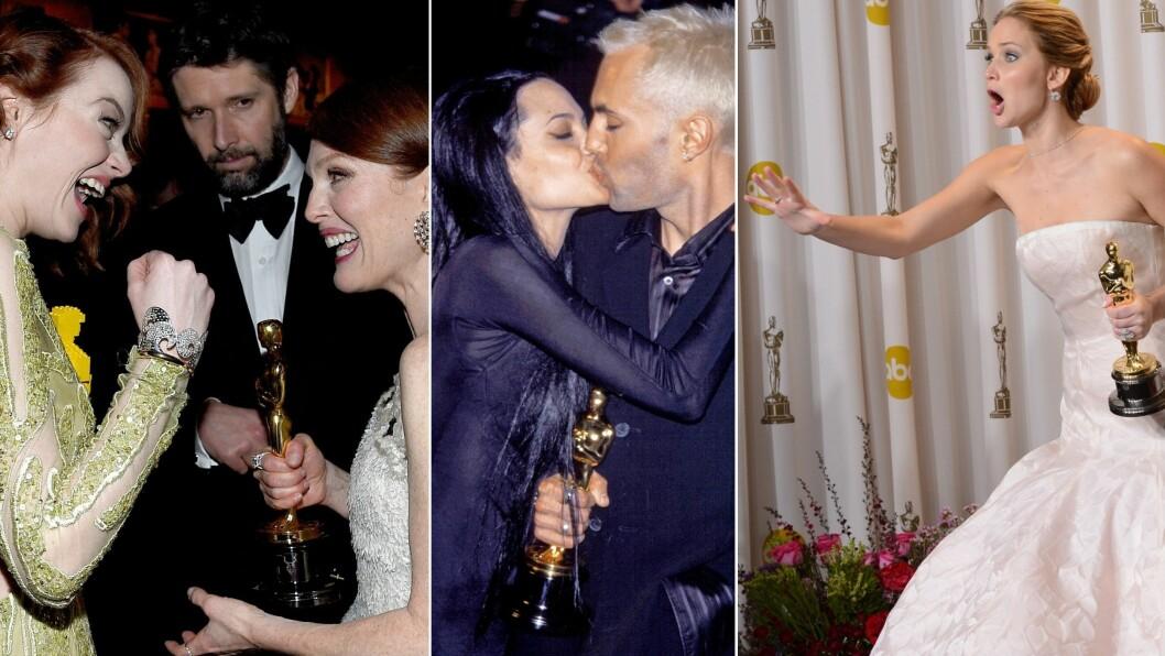 OSCAR AWARDS: (F.v) Emma Emma Stone i ivrig samtale med fjorårets Oscar-vinner Julianne Moore.  Angelina Jolie klinte til med storebroren James Haven da hun vant Oscar for 12 år siden. I 2013 vant Jennifer Lawrence en statuett for beste kvinnelige hovedrolle i «Silver Linings Playbook».