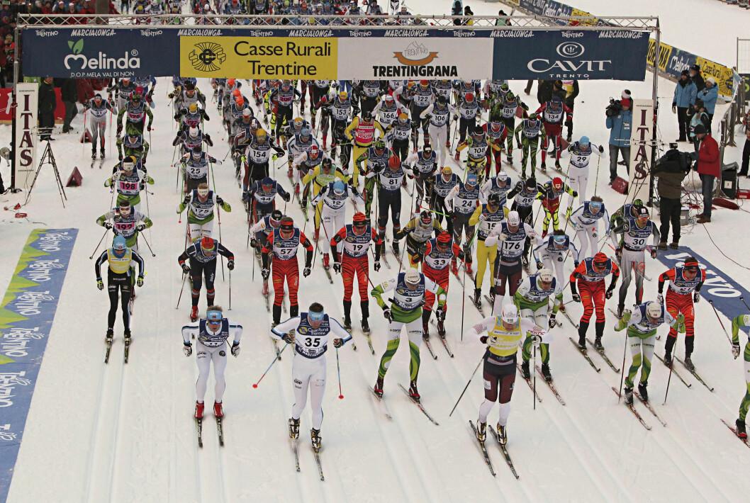 VAR MED: I slutten av januar 2014 stod Geir Schau på startstreken i skirennet Marcialonga i Nord-Italia (bildet). Programlederen brukte rennet for å gå ned i vekt og komme i bedre form.  Foto: Ap