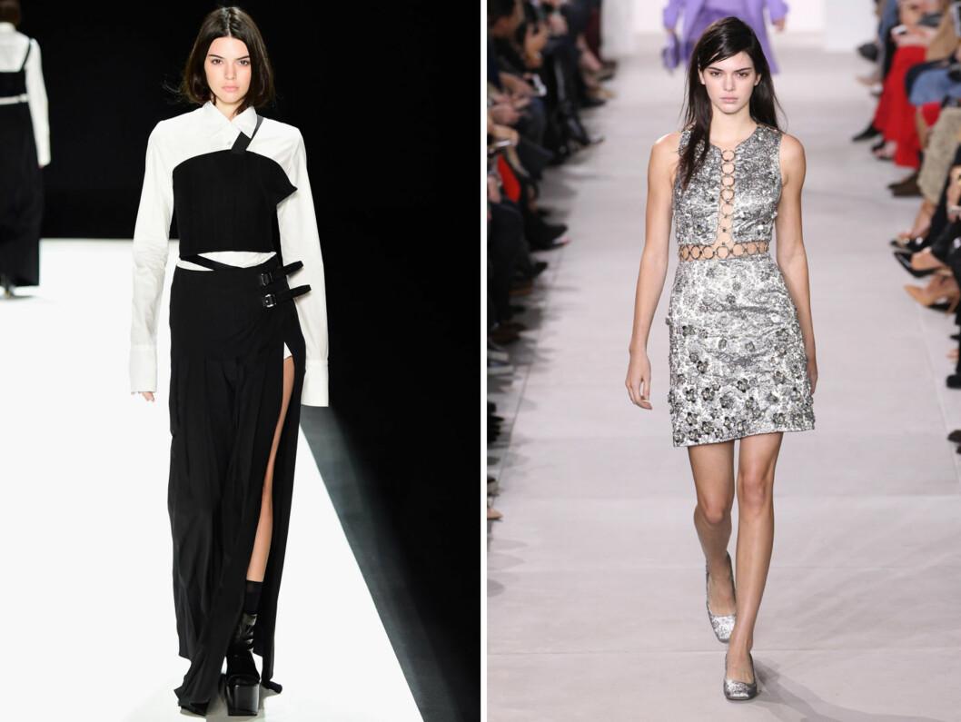 ETTERTRAKTET: Kendall Jenner i aksjon på catwalken for henholdsvis Vera Wang og Michael Kors under moteuken i New York, mandag og tirsdag denne uken.  Foto: NTB Scanpix