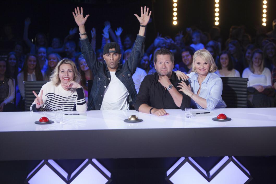 PÅ TV: Mia Gundersen var dommer i den siste sesongen av «Norske Talenter». Her sammen med kollegene Linn Skåber (45, f.v.), Suleman Malik (24), og Bjarne Brøndbo (51).