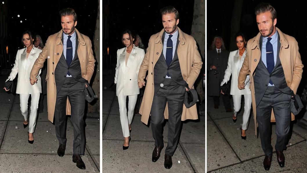 <strong>STILIG STJERNEPAR:</strong> Victoria og David Beckham gjorde en svært stilig figur på vei til Vogue-redaktør Anna Wintours middag i New York tidligere denne uken. Den britiske stjernedesigneren sørget for å matche ektemannens kamelhårsfrakk med en beige topp under den hvite smokingen. Foto: Splash News/ NTB Scanpix