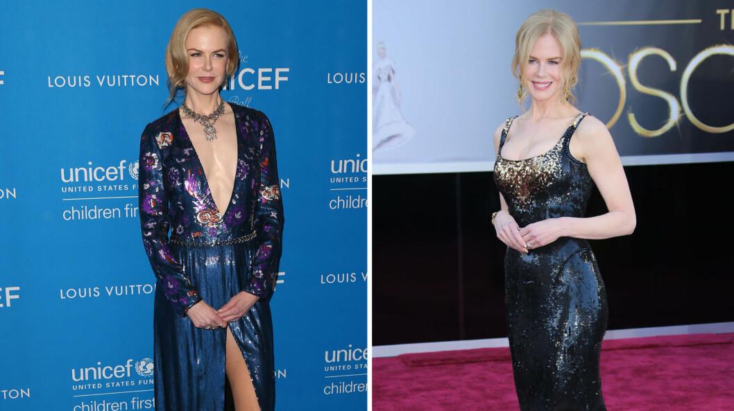 <strong>STOR FORANDRING:</strong> De siste årene har filmstjernen Nicole Kidman måttet tåle stadige spekulasjoner om hvorvidt hun har forstørret brystene sine. Her er hun fotografert i januar 2016 (t.v.) - etter angivelig å ha fjernet implantatene - og på Oscar-utdelingen i februar 2013.  Foto: NTB Scanpix