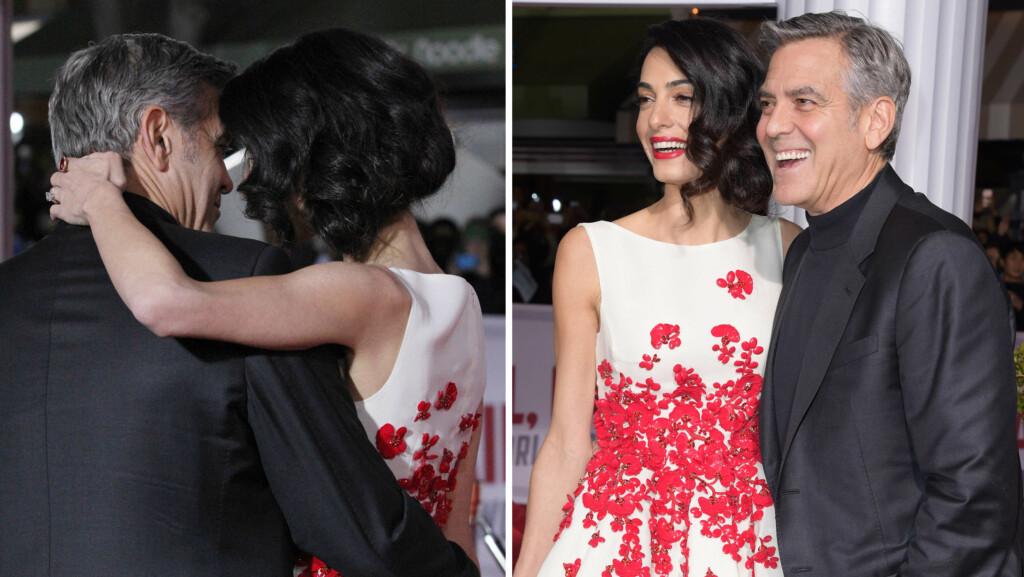 STORMFORELSKET: Ekteparet George og Amal Clooney la ikke skjul på følelsene sine da de kastet glans over premieren på «Hail, Caesar!» denne uken. Foto: NTB Scanpix