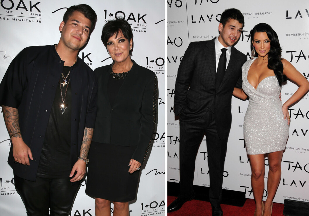 KLAR FOR COMEBACK?: Ifølge UsWeekly vil Blac Chyna hjelpe Rob Kardashian med å bli slank igjen og tre inn i rampelyset etter flere år i skyggen av sin berømte familie. Her er han med mamma Kris Jenner våren 2013, og med søsteren Kim nyttårsaften 2010. Foto: NTB Scanpix