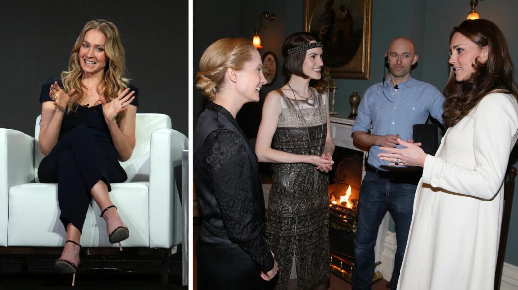 FLAUT MØTE: Skuespiller Joanne Froggatt (t.v), kjent for rollen som kammerpiken Anna i «Downton Abbey», røper nå hva som skjedde da hertuginne Kate besøkte TV-seriens innspillingssett i mars 2015. Etter å ha spilt inn en scene sammen med Michelle Dockery (midten t.h), tråkket Froggatt i salaten da hun småpratet med hertuginnen (t.h). Foto: REX/ AFP/ NTB Scanpix
