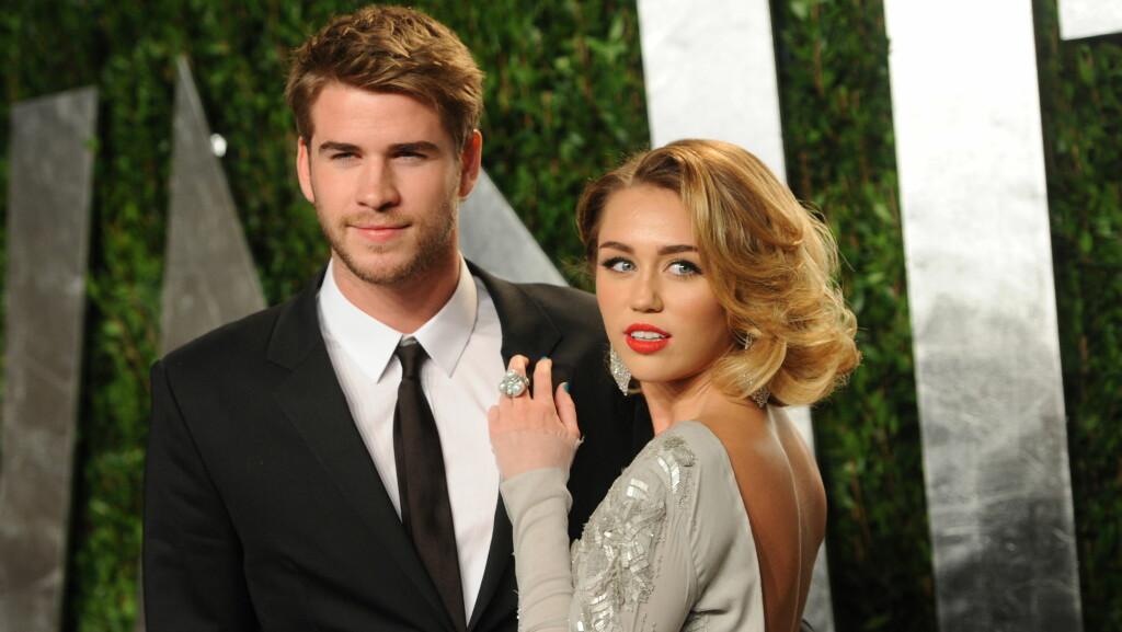 FANT TILBAKE: Miley og Liam skal ha funnet tilbake til hverandre i slutten av 2015. Bildet er fra 2012 da de nylig hadde forlovet seg.  Foto: NTB scanpix