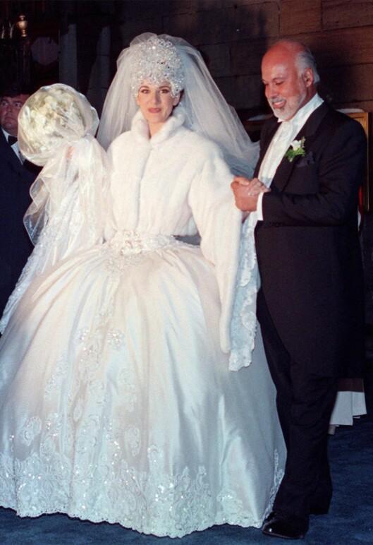 BRYLLUPSDAGEN: I desember 1994 giftet Celine Dion seg med sin store kjærlighet, Rene Angelil, i en seremoni i Montreal i Canada.  Foto: NTB scanpix