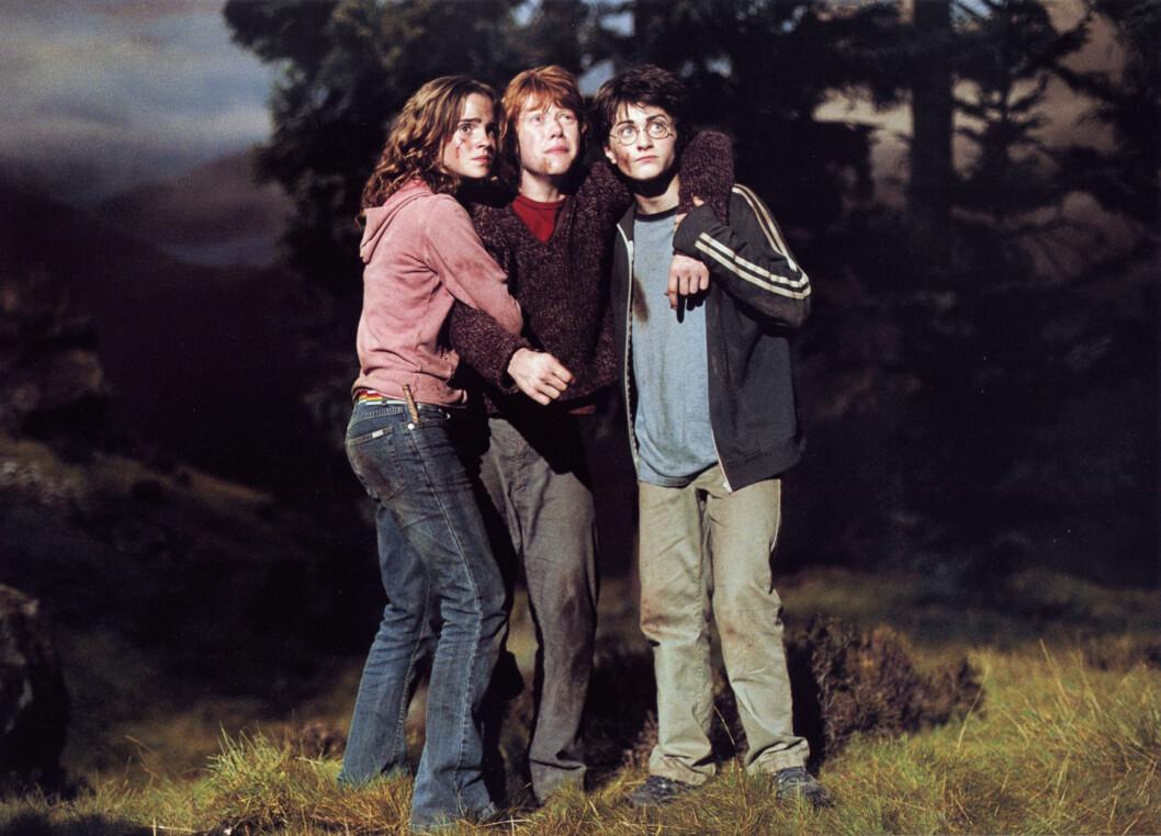 BLE KJENT: Emma Watson spiller Hermine i de populære Harry Potter-filmene. Her sammen med motspillerne Rupeert Grint og Daniel Radcliffe.  Foto: NTB scanpix