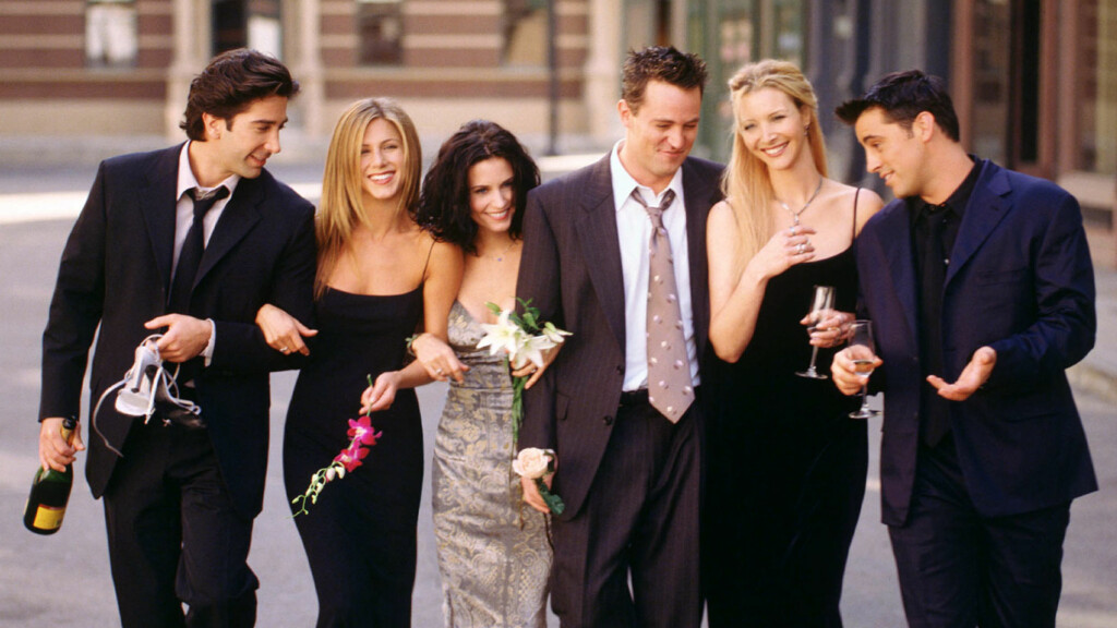 SIER NEI TIL COMEBACK: Matthew Perry (midten) vil ikke være med på en gjenforening med sine tidligere «Friends»-kolleger (f.v.) David Schwimmer, Jennifer Aniston, Courteney Cox, Lisa Kudrow og Matt LeBlanc. Foto: REUTERS