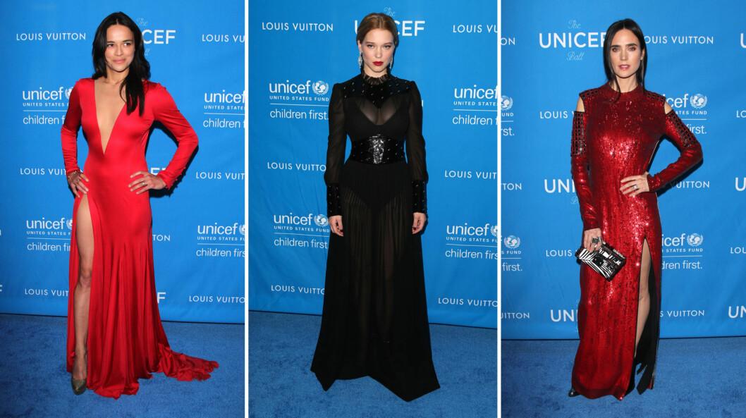 DRAMATISKE FARGER: Skuespiller Michelle Rodriguez, «Spectre»-bondpiken Léa Seydoux og Oscar-vinner Jennifer Connelly fikk oppmerksomhet i rødt og sort på veldedighetsgallaen. Foto: NTB Scanpix