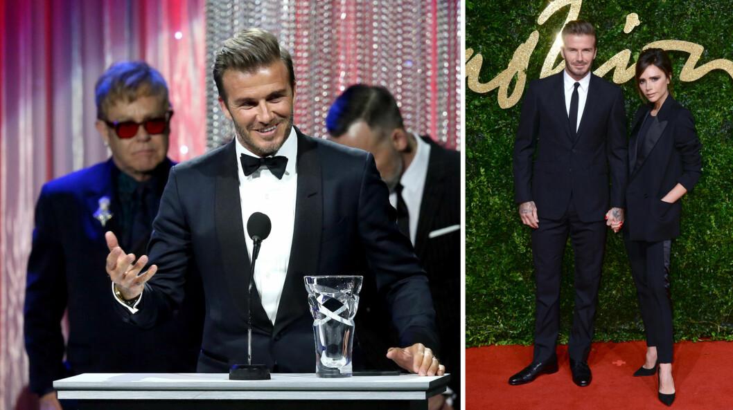 BEÆRET: David Beckham strålte mens han holdt takketalen sin på UNICEF-ballet, etter å ha blitt overrakt hedersprisen fra vennen Elton John (bak t.v). Kona Victoria Beckham (t.h) hadde derimot ikke anledning til å være med. Foto: Afp/ NTB Scanpix
