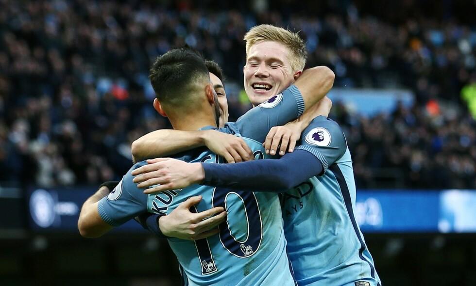"""DOBBEL: Manchester City kom under borte mot Burnley, men stjernespissen Sergio Agüero snudde kampen for gjestene. City vant 2-1 på Turf Moor.  Foto:&nbsp;<span style=""""background-color: initial;"""">Matt West/BPI/REX/Shutterstock/NTB Scanpix</span>"""