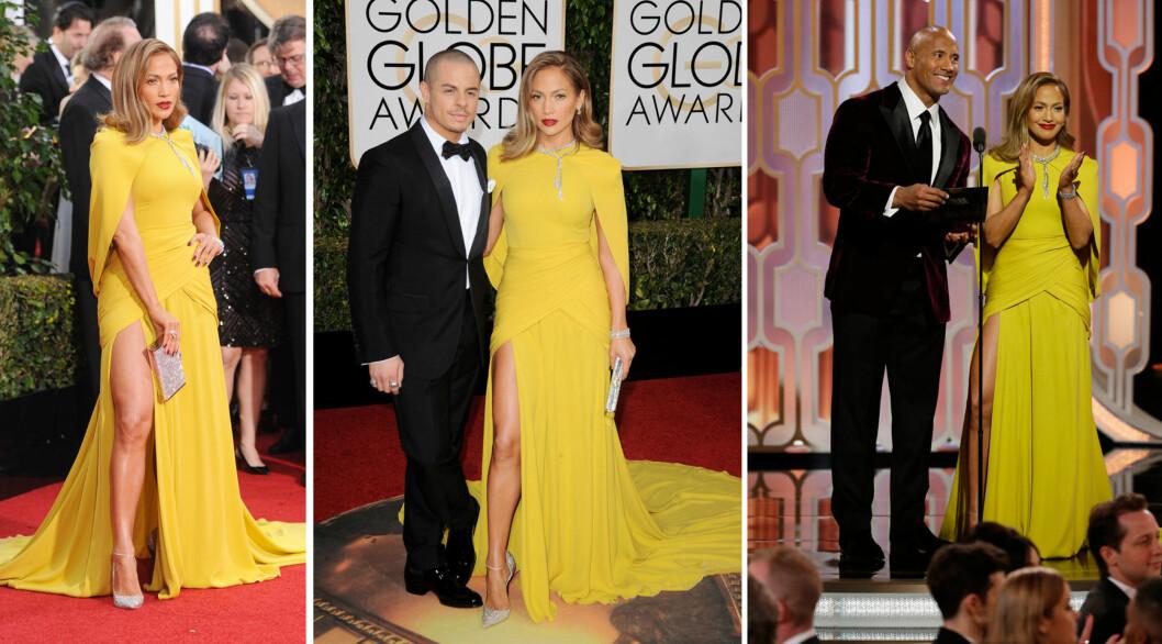 HELPROFF: Jennifer Lopez viste seg frem med kjæresten Casper Smart og strålte på Golden Globe-scenen sammen med Dwayne Johnson (t.h). Etter prisutdelingen skiftet hun imidlertid til en hvit kjole. Foto: NTB Scanpix