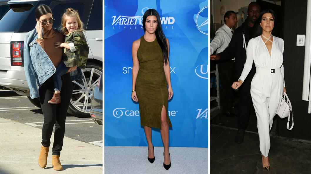 VISER SEG FREM: Etter bruddet har Kourtney Kardashian både trent hardt og vist frem resultatene av treningen i sexy antrekk. Reality-stjernen, til venstre med datteren Penelope, avviser at hun bare trener fordi hun er forfengelig.  Foto: NTB Scanpix