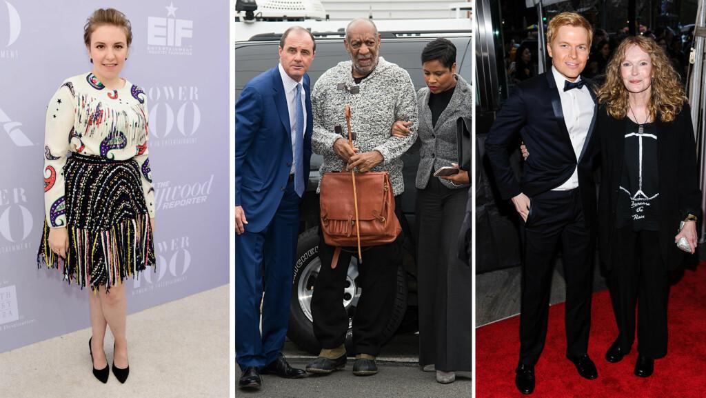 FIKK GÅ FRI: Komikeren og TV-stjernen Bill Cosby (midten) står tiltalt for overgrep mot 42-årige Andrea Constand. Her ankommer han retten i Elkins Park, Pennsylvania den 30. desember, sammen med forsvarsadvokat Monique Pressley (t.h). Blant andre Lena Dunham (t.v) og Ronan og Mia Farrow (ytterst t.h) er glade over tiltalen.  Foto: Splash News/ NTB Scanpix
