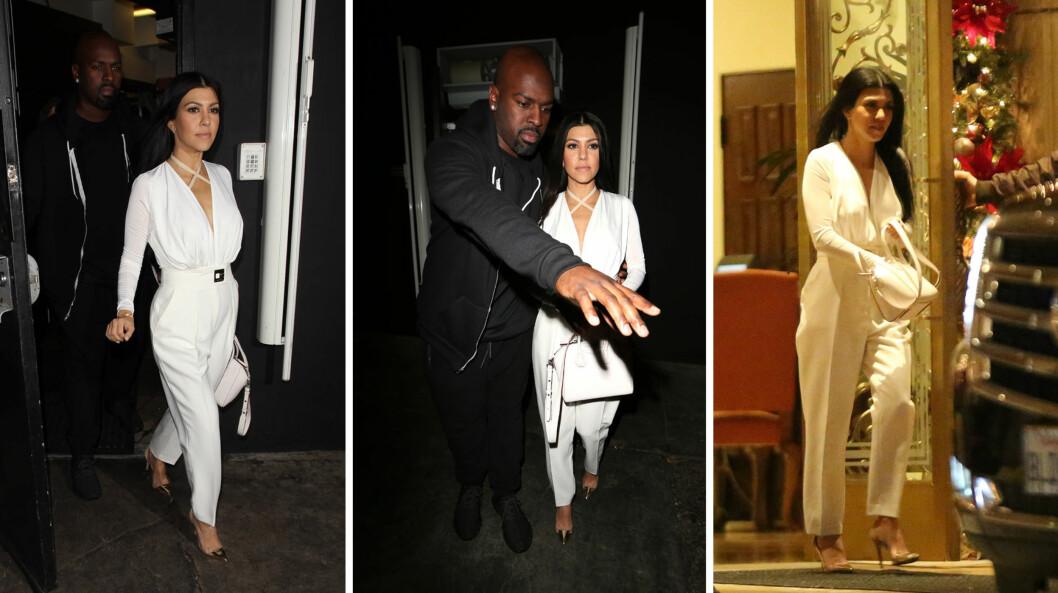 UT I DE SMÅ TIMER: Etter middag og karaoke fredag kveld, ble Kourtney Kardashian fotografert på vei ut fra hotellet The Montage i firetiden natt til lørdag (t.h). Ifølge TMZ er det der Justin Bieber holder til om dagen.  Foto: Splash News/ NTB Scanpix