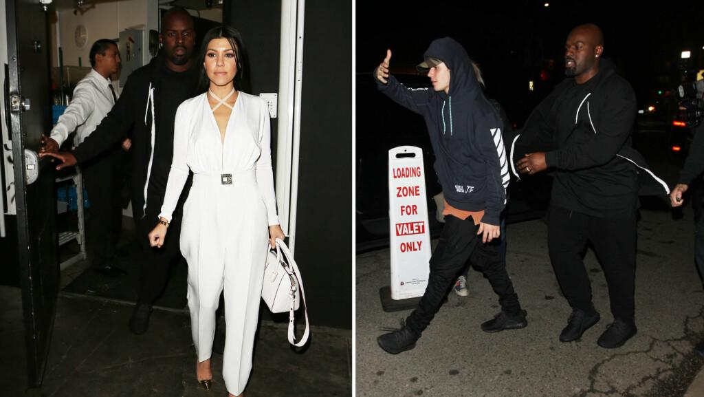 PÅ DATE IGJEN: Fredag kveld ble både Kourtney Kardashian og Justin Bieber fotografert ved restauranten Nice Guy i Hollywood. Corey Gamble, kjæresten til Kourtneys mor Kris Jenner, fungerte tilsynelatende som en slags livvakt for turtelduene.  Foto: Splash News/ NTB Scanpix