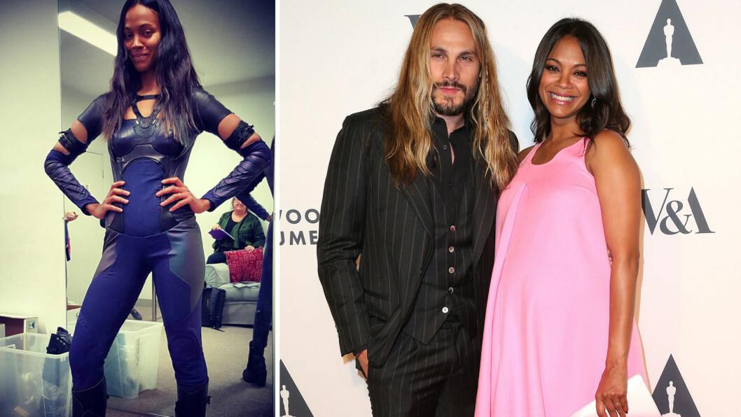 STOLT AV EGEN INNSATS: Filmstjernen Zoe Saldana og ektemannen Marco Perego (t.h) fikk tvillinger for et drøyt år siden. Skuespilleren har jobbet hardt for å komme tilbake i form, og nylig overrasket hun både seg selv og fansen på Instagram (t.v). Foto: Instagram/ NTB Scanpix