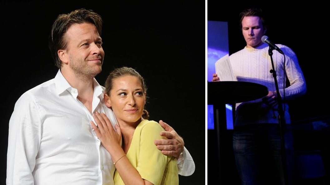 PROFILERT PAR: Både Pia Tjelta, her i en scene fra «Lille Eyolf» sammen med Kåre Conradi høsten 2014, og Oddgeir Thune (t.h) er skuespillere. Thune er i disse dager ansatt på Det Norske Teatret, der han spiller i stykket «Verdenskrigen - natt i verda» til våren.  Foto: NTB Scanpix