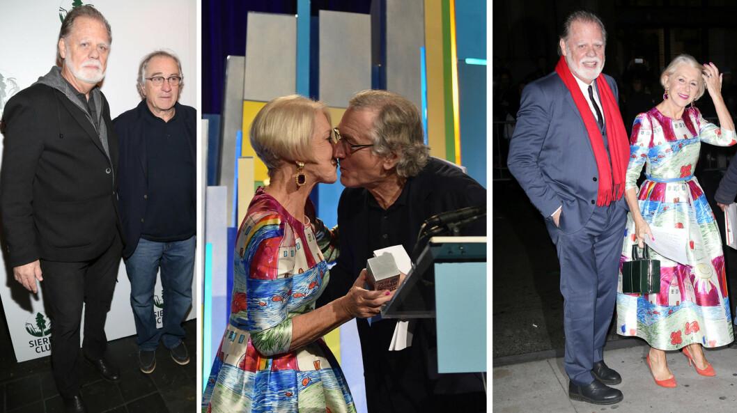 <strong>PIKANT KVELD:</strong> Helen Mirren og ektemannen koste seg på Gotham Awards, der Robert De Niro røpet at også han er svak for Mirren i rollen som den britiske dronningen. Taylor Hackford og Robert De Niro har heldigvis et godt forhold - tidligere i høst var de sammen på et arrangement i New York (t.v). Foto: NTB Scanpix