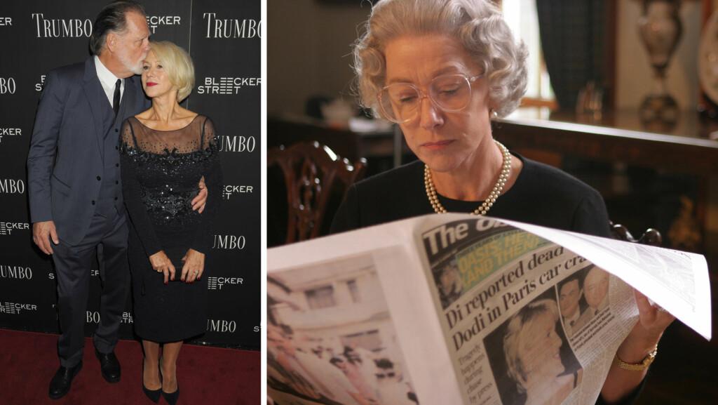 SEXY KONGELIG: Under filmprisutdelingen Gotham Film Awards nylig, røpet Helen Mirren at ektemannen Taylor Hackford (t.v) synes at den Oscar-belønte rollen hennes som dronning Elizabeth er sexy.  Foto: Splash News/ Pathe International/Sandrew Metronome Norge