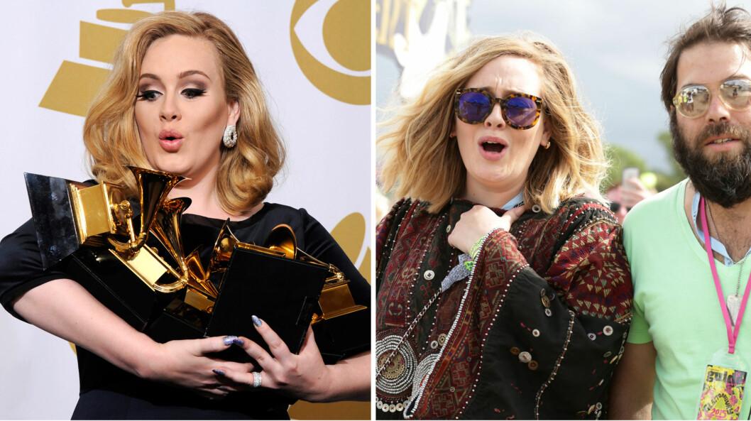 SUPERSTJERNE: Adele har hittil vunnet ti Grammy Awards - i 2012 vant hun hele seks priser (t.v). Privat er hun lykkelig med Simon Konecki, som hun her er avbildet sammen med på musikkfestivalen Glastonbury sommeren 2015.  Foto: NTB Scanpix
