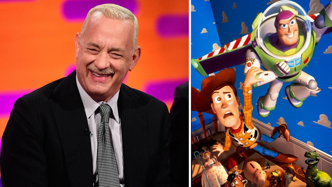 KOM MED GLADMELDING: Da Tom Hanks gjestet «The Graham Norton Show» denne uken, fortalte filmstjernen om rollen sin som cowboydukken Woody (t.h) - og røpet nærmest i en bisetning at arbeidet med «Toy Story 4» allerede er i gang. Foto: NTB Scanpix