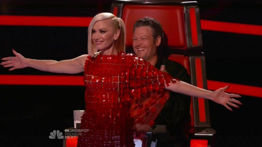 """NYTT PAR: Gwen og Blake er begge dommere i sangprgroammet """"The Voice"""". De har også blitt kjærester privat.   Foto: Xposure"""