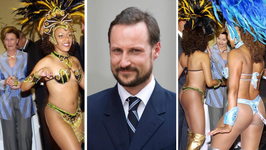 FÅR HAAKON SAMME OVERRASKELSE?: Dronning Sonja ble tydelig overrasket da hun ble møtt av lettkledde brasilianske sambadansere under kongeparets besøk til Brasil i 2003. Nå er kronprins Haakon på besøk i landet. Foto: NTBScanpix, UKPress