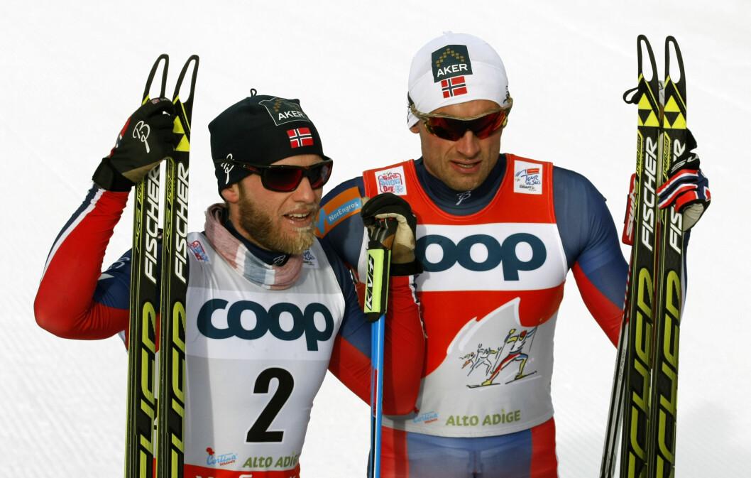 SKISTJERNE: Petter Northug sammen med sin kollega fra skilandslaget Martin Johnsrud Sundby. Foto: Pierre Teyssot / Splash News/ All Over Press