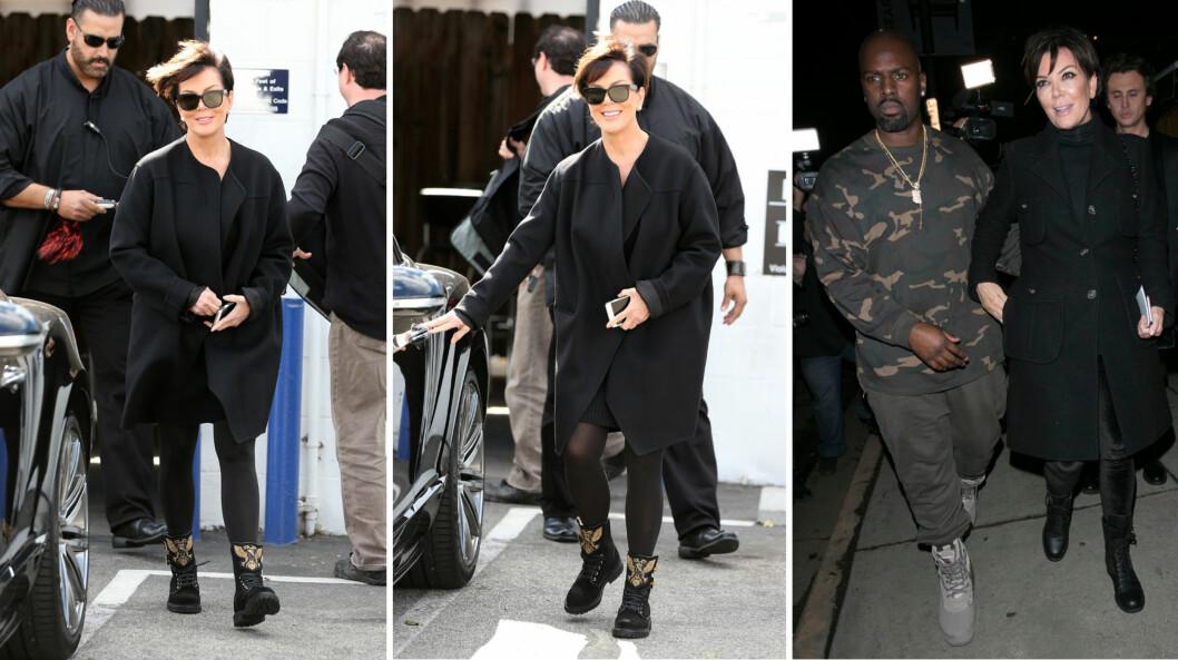 STRÅLER SOM 60-ÅRING: Kris Jenner viste seg fra en imponerende fresh og ungdommelig side på vift i Los Angeles onsdag denne uken (t.v). Det siste året har sikkert den 25 år yngre kjæresten, Corey Gamble (t.h), bidratt til at TV-stjernen holder seg ung. Foto: NTB Scanpix