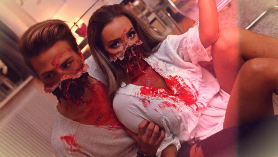 SMINKET: Sophie Elise og kjæresten Robin Johansson gikk for denne looken under årets Halloween-feiring. Foto: Bilde fra bloggen, gjengitt med tillatelse