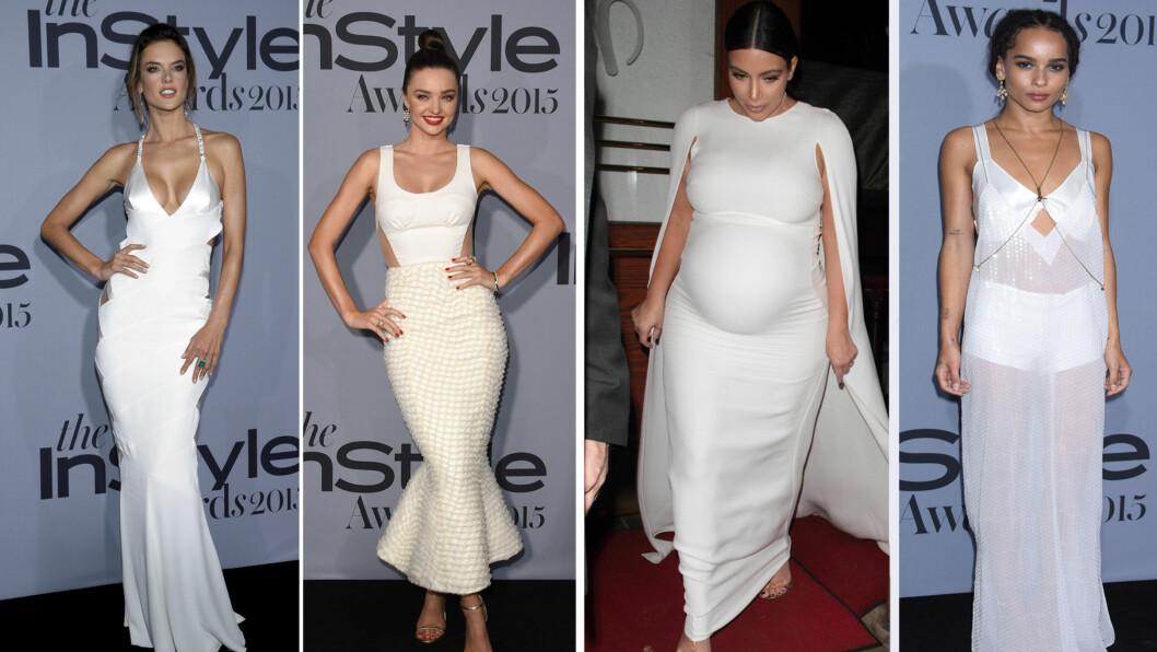 HVITT: Hollywood-stjernene hadde hatt samme tanke i hode da de kledde seg til Instyle Awards. Mange kom i hvitt og trangt på den fasjonable festen (f.v) Alessandra Ambrosio, Miranda Kerr, Kim Kardashian og Zoë Kravitz Foto: NTB Scanpix