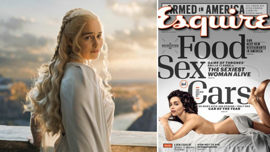 KASTER KLÆRNE IGJEN: I 2013 skal Emilia Clarke ha satt foten ned for flere nakenscener i «Game of Thrones»-rollen som Daenerys Targaryen (t.v). Nå viser hun seg naken på forsiden av Esquire, som nylig kåret henne til verdens mest sexy kvinne.  Foto: Ap/ Faksimile Esquire